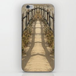 sandy walkway with wooden fence and summer sunlight iPhone Skin