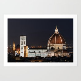 Night image of the Florence Cathedral Art Print