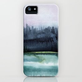 Watercolor blue sea on a background of thunderclouds iPhone Case