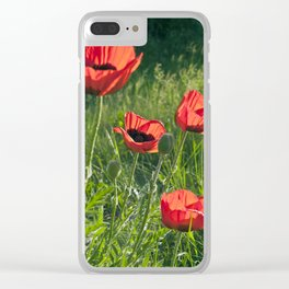 Dream of Red Poppies Clear iPhone Case