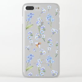 Cute hand painted brown bee lavender watercolor floral Clear iPhone Case
