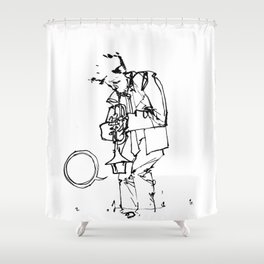 the trumpeter Shower Curtain