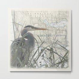 Heron blanket Metal Print