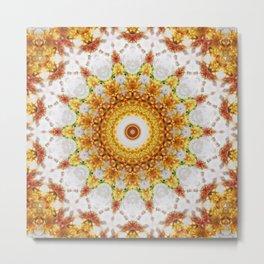 Gold Chrysanthemum Kaleidoscope Art 3 Metal Print