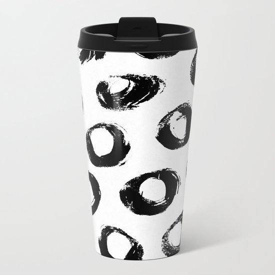 Brushed Dots Black and White Metal Travel Mug
