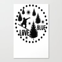 snowboard Canvas Prints featuring Forest Snowboard Love Blue by Patti Friday