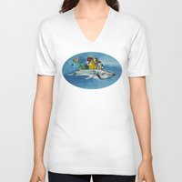 the whale V-neck T-shirts featuring whale by Кaterina Кalinich