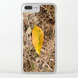 Yellow leaf on the ground Clear iPhone Case