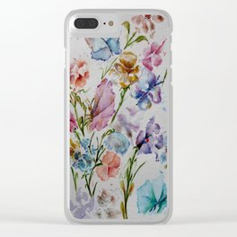 WHIMSICAL BUTTERFLIES AND FLOWERS Clear iPhone Case