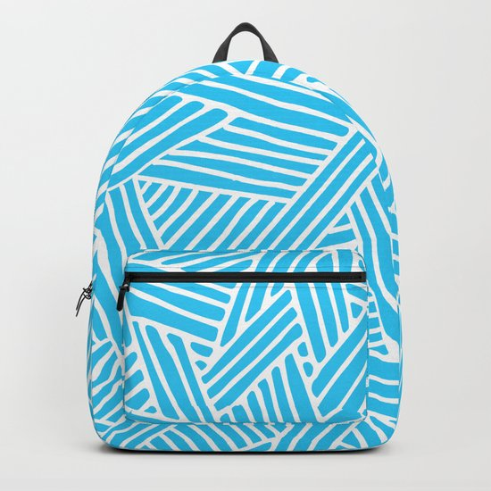 Abstract Teal & white Lines and Triangles Pattern-Mix and Match with Simplicity of Life #Society6 Backpack