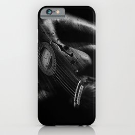 Guitar Woman Black and White iPhone Case