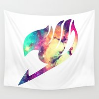fairy tail Wall Tapestries featuring Galaxy Fairy Tail Logo by ZipZapAttack