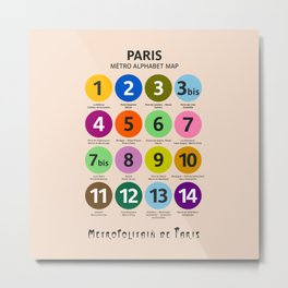 Paris Metro map, subway poster, Métro de Paris, underground alphabet map Metal Print