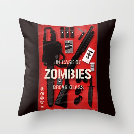 Zombie Emergency Kit Throw Pillow by Duke Dastardly Society6