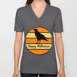 Happy Halloween Retro Black Raven on Vintage Sunset Unisex V-Neck