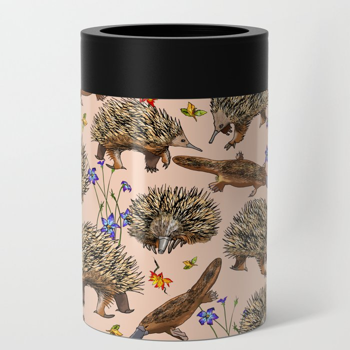 monotremes and wildflowers on apricot Can Cooler