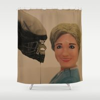 politics Shower Curtains featuring In Politics, No One Can Hear You Scream by Beastie Toyz