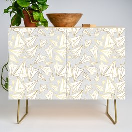 Paper Airplanes Faux Gold on Grey Credenza