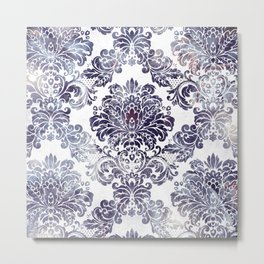 Blueberry Damask Metal Print