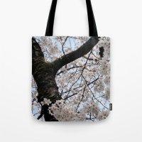 cyarin Tote Bags featuring Sakura Blooming (Japan) by Julie Maxwell