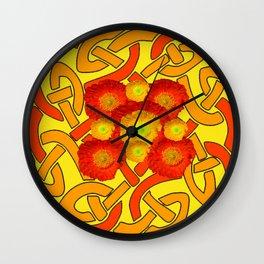 Decorative Orange Poppies Color Yellow Celtic Art Wall Clock