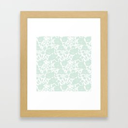Vintage elegant pastel green white stylish floral Framed Art Print