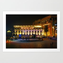 Vietnam Town square Lao Cai Night Cities Building night time Houses Art Print