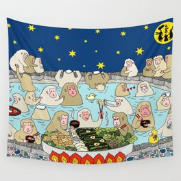 Snow Monkeys in Hot Spa Wall Tapestry