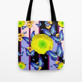 BLUE BUTTERFLY &  LEMON YELLOW FLOWER FLORAL CAGE Tote Bag