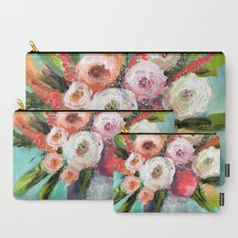 Peach and White Roses Carry-All Pouch