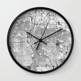 Denver White Map Wall Clock