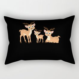 Cute Deer Family Kids Animal Motif Rectangular Pillow