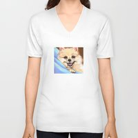 pomeranian V-neck T-shirts featuring Preppy Pomeranian by Britanee LeeAnn Sickles
