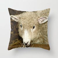 lamb Throw Pillows featuring Lamb by Raymond Earley