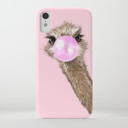 Sneaky Ostrich with Bubble Gum in Pink iPhone Case