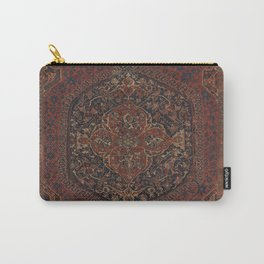 Boho Chic Dark I // 17th Century Colorful Medallion Red Blue Green Brown Ornate Accent Rug Pattern Carry-All Pouch