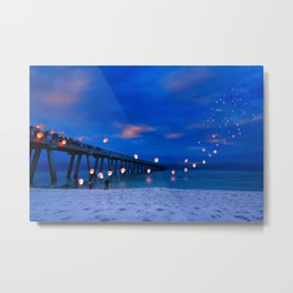 Inspirational Art Print Paper Lanterns Landscape Metal Print