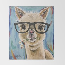 Cute Alpaca With Glasses Throw Blanket
