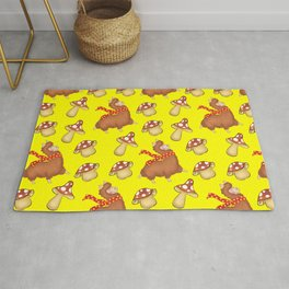 Cute happy llamas with winter scarves and funny whimsical little mushrooms seamless yellow pattern Rug