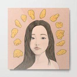 GIRL WITH CHICKEN Metal Print