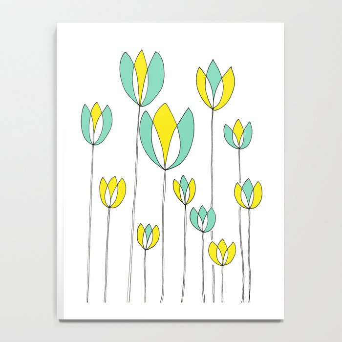 Drawing of Teal and Yellow Happy Tulips by Emma Freeman Designs Notebook