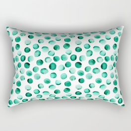 Watercolor Dots // Emerald Rectangular Pillow