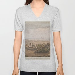 Vintage Cairo Egypt & Giza Pyramids Illustation Unisex V-Neck