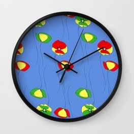 Red and green flowers Wall Clock