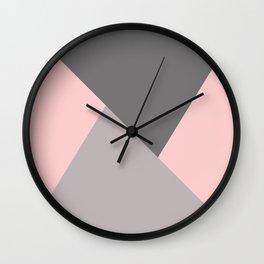 Geometric pattern pink/grey Wall Clock