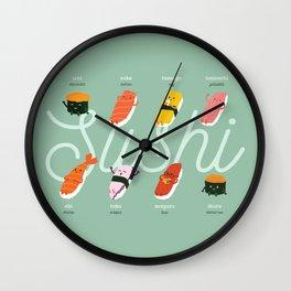 Sushi Kawaii Green Wall Clock