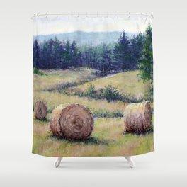Hay Bales at Hills Farm Shower Curtain