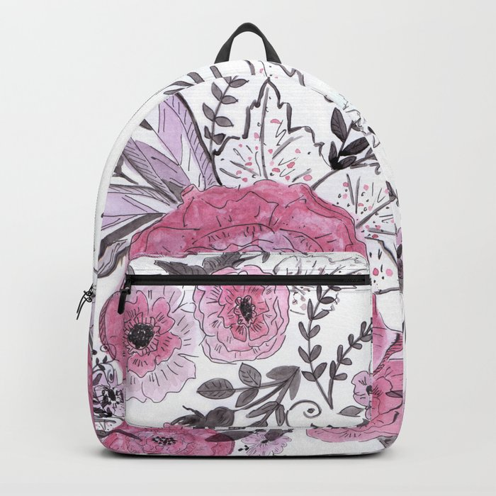Watercolor roses with black and gray leaves . Backpack