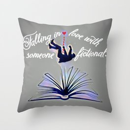 Falling Fiction (masc) - Blue Throw Pillow