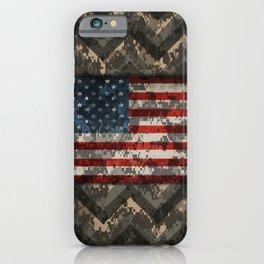 Digital Camo Patriotic Chevrons American Flag iPhone Case